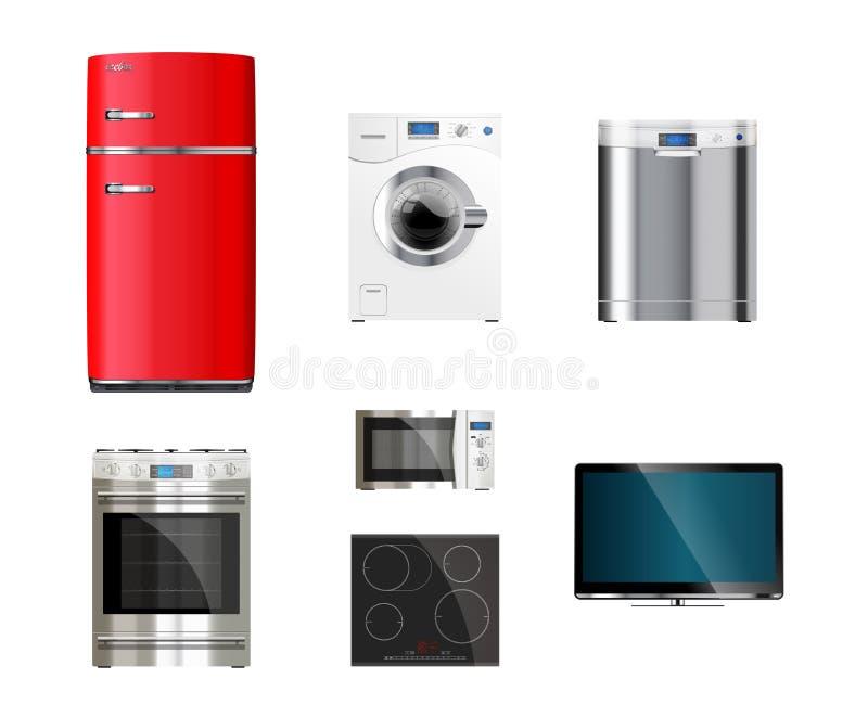 Kuchni i domu urządzenia ilustracja wektor