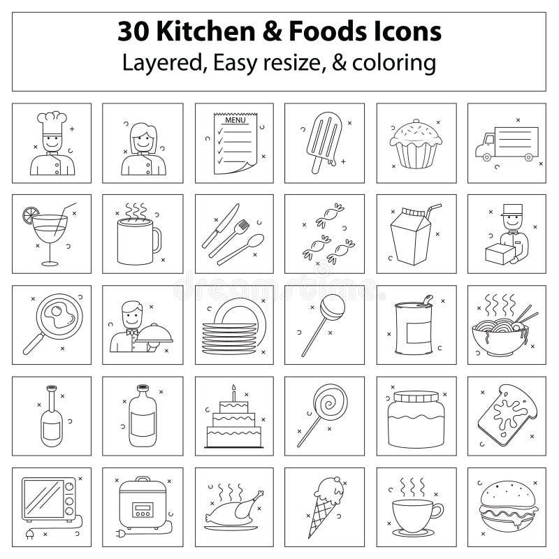 Kuchni i foods ikony ilustracja wektor