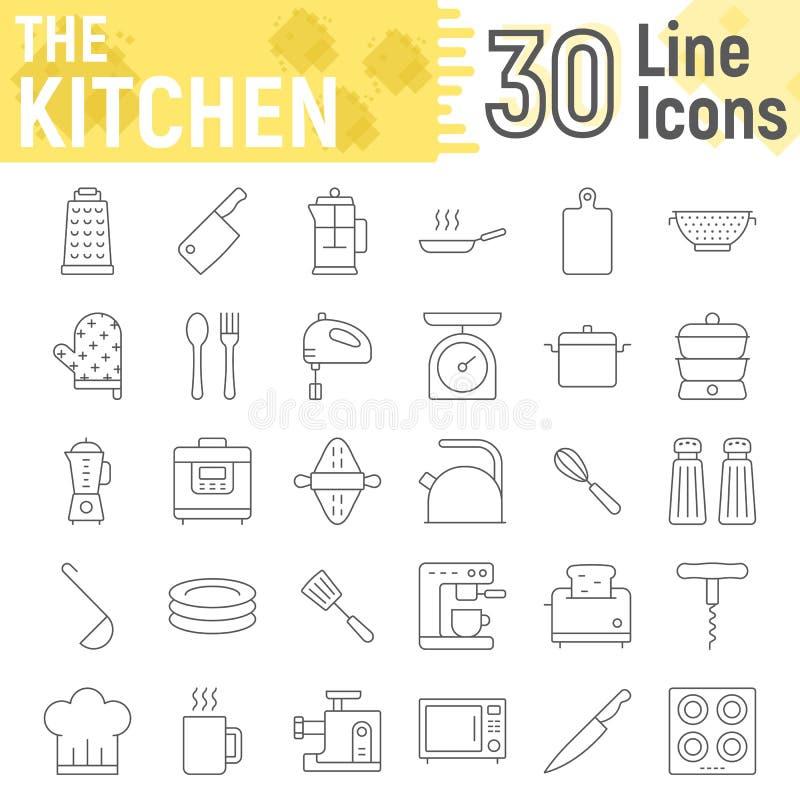 Kuchni ikony cienki kreskowy set, gospodarstwo domowe podpisuje ilustracja wektor