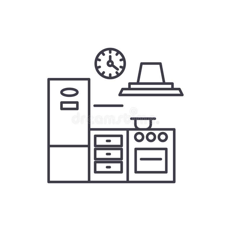 Kuchni ikony kreskowy pojęcie Kuchenna wektorowa liniowa ilustracja, symbol, znak ilustracji