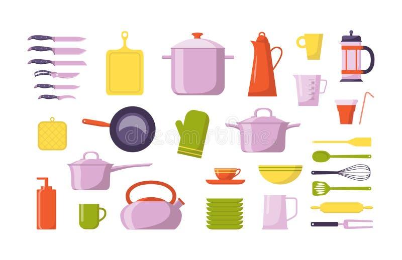 Kuchni ikony narzędziowa płaska kolekcja r?wnie? zwr?ci? corel ilustracji wektora Ustawia z naczyniami dla gotować, odizolowywają royalty ilustracja