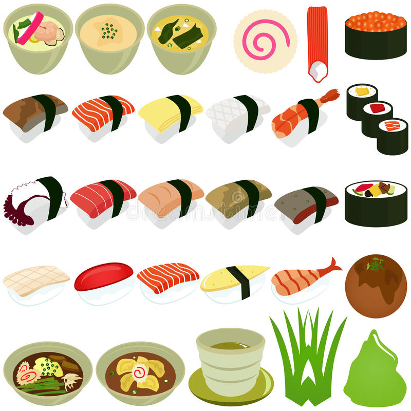 kuchni karmowych ikon japoński zupny suszi ilustracja wektor