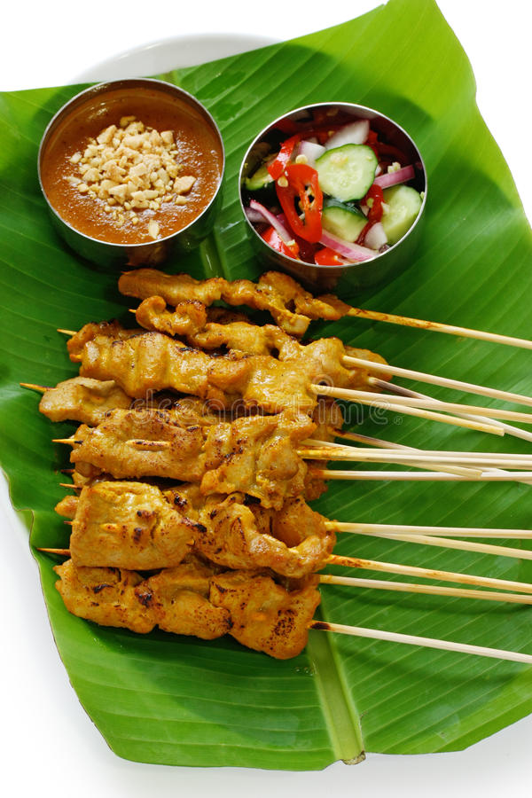 kuchni muczenia wieprzowiny satay tajlandzki fotografia royalty free