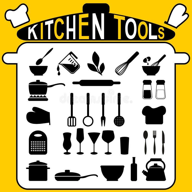 Kuchni narzędzia - ikony ustawiać. ilustracja wektor