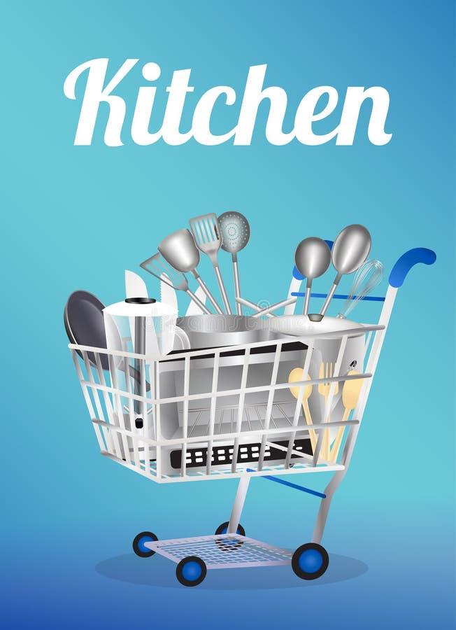 Kuchni narzędzie na wózek na zakupy ilustracja wektor