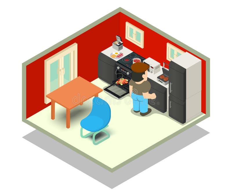 Kuchni pojęcia sztandar, isometric styl ilustracja wektor