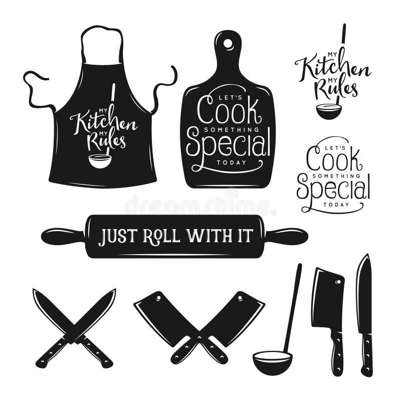 Kuchni typografii powiązany set Wycena o kucharstwie Rocznika wektoru ilustracja ilustracja wektor