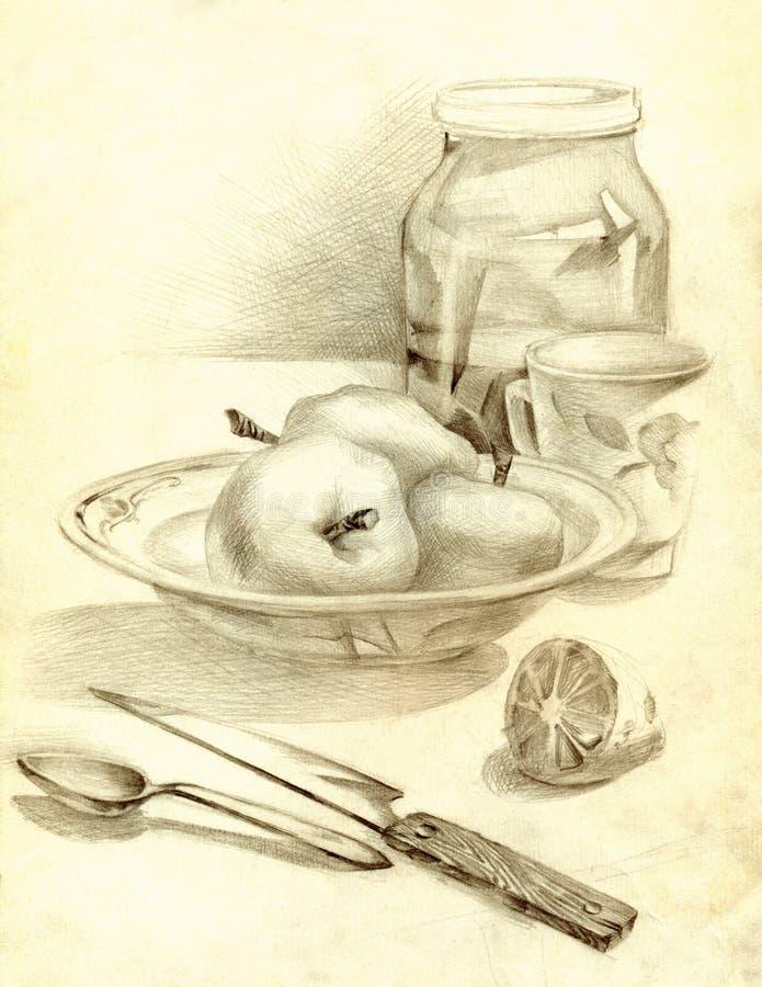 Kuchni wciąż życie w ołówku Jabłka w pucharze royalty ilustracja