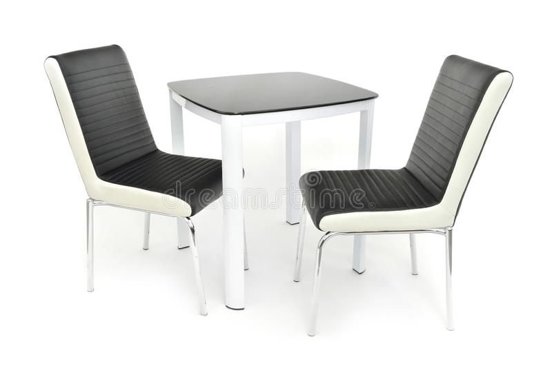 Kuchnia łomota meblarskiego ustawiającego stół i dwa krzesła Nowożytny łomota meble dla żywego pokoju lub kuchni, robić biały dre fotografia stock