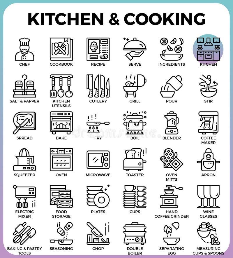 Kuchnia i kulinarne ikony ilustracji
