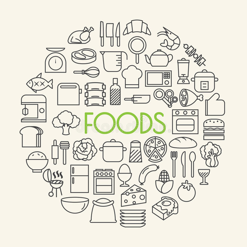 Kuchnia i Kulinarny Foods tło zarysowywamy ikony ustawiać ilustracja wektor