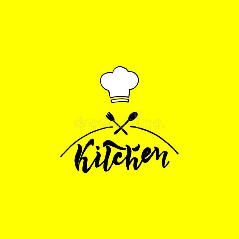 Kuchnia Ilustracja na żółtym tle z rozwidleniem i łyżką ilustracja wektor