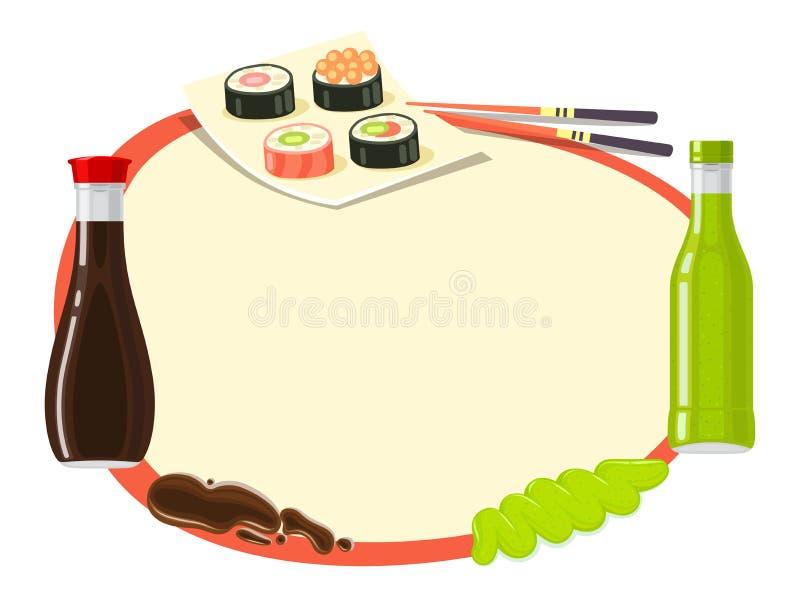 kuchnia japończycy tradycyjne Azjatycka karmowa ilustracja ilustracja wektor