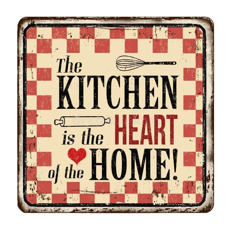 Kuchnia jest sercem domowego rocznika metalu ośniedziały znak ilustracja wektor