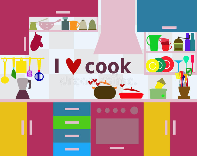 Kuchnia - kocham kulinarnego pojęcie ilustracji