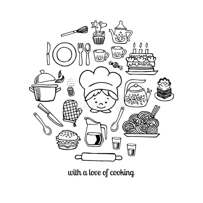 Kuchnia kucharz i narzędzia kreślą ikony odosobnienia wektoru set ilustracja wektor