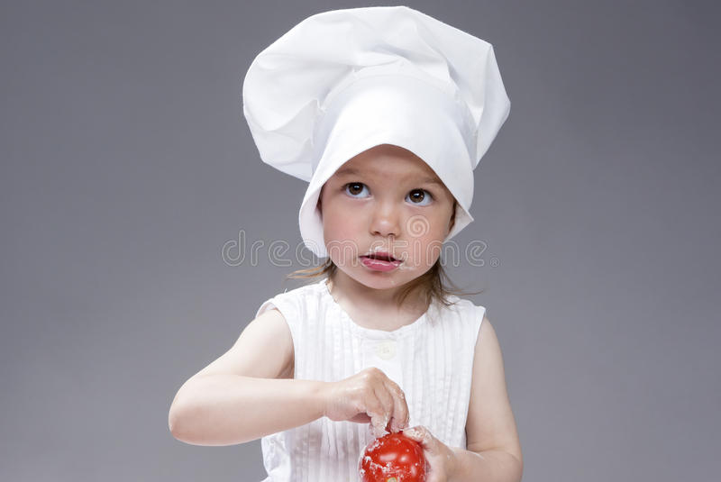 Kuchnia, Kulinarni pojęcia i pomysły Portret Urocza Śliczna Kaukaska dziewczyna Pozuje jak Cook obraz stock