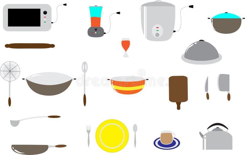 kuchnia kulinarni zestaw narzędzi ilustracja wektor