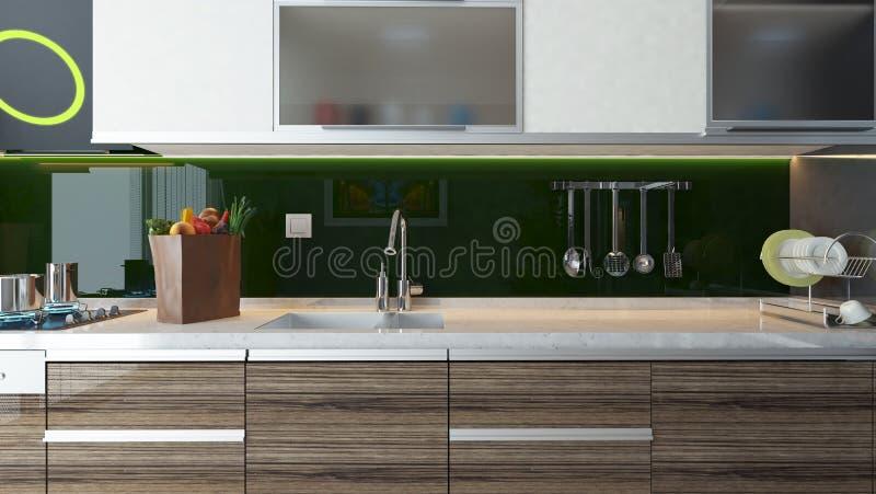 kuchnia nowoczesne wewnętrznego projektu ilustracja wektor