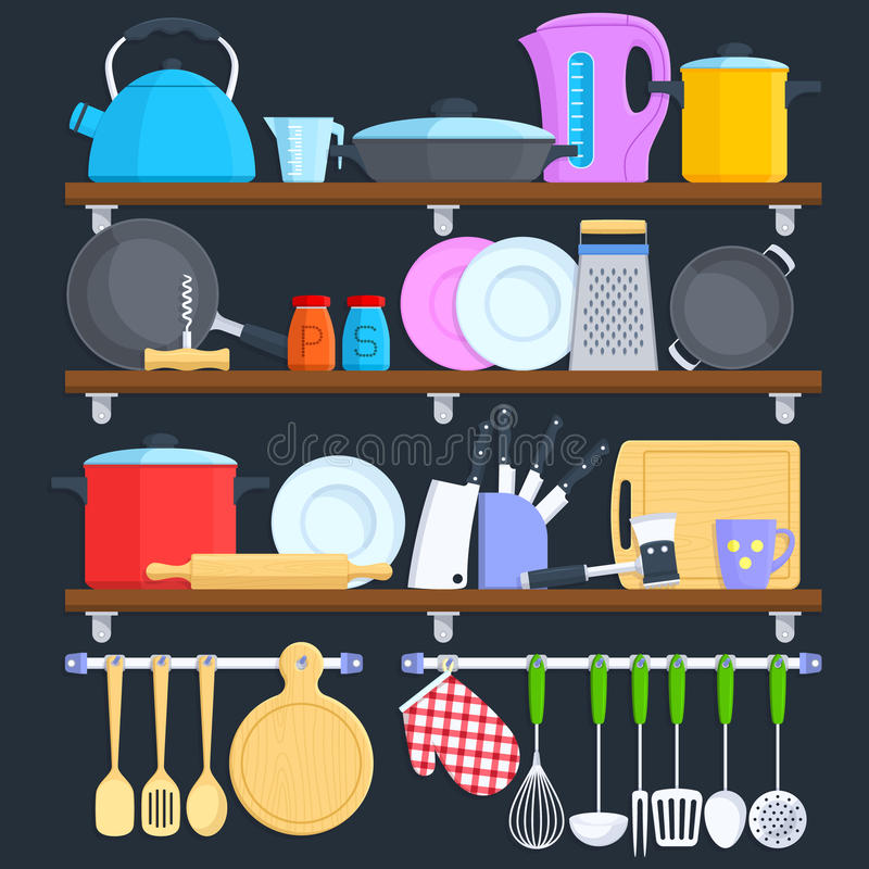 Kuchnia odkłada z cookware i kulinarnego wyposażenia płaskim wektorowym pojęciem royalty ilustracja