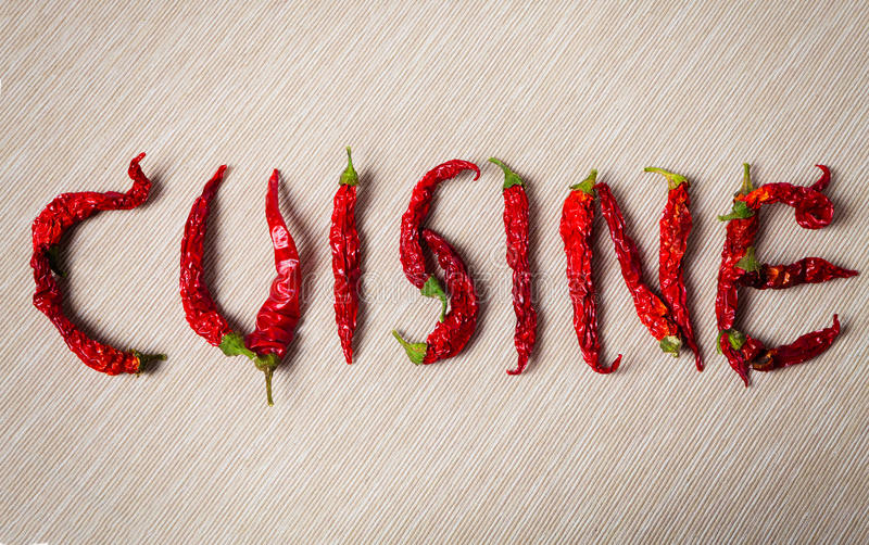 kuchnia Słowo z wysuszonym gorącym chili pieprzem obraz stock