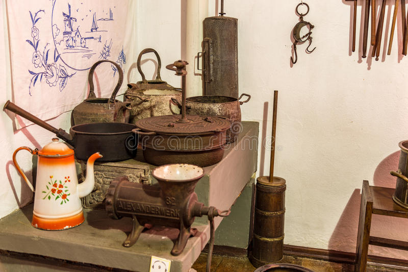 kuchnia stara Kolonisty famlily muzeum obraz stock