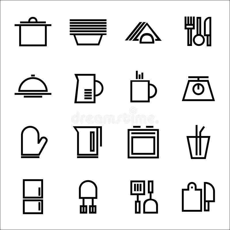 Kuchnia ustawić symbole Różnorodne rzeczy, naczynia i wyposażenie, ilustracji