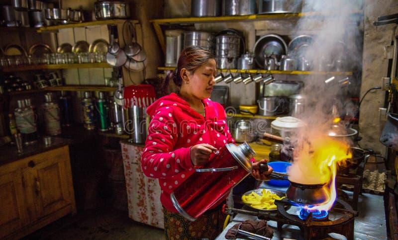 Kuchnia w herbacianym domu, Nepal obraz royalty free