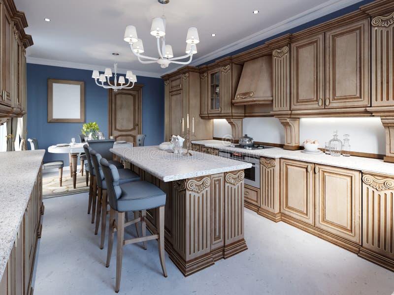 Kuchnia w luksusu domu z drewnianym cabinetry ilustracji