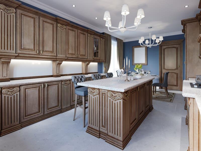 Kuchnia w luksusu domu z drewnianym cabinetry ilustracja wektor