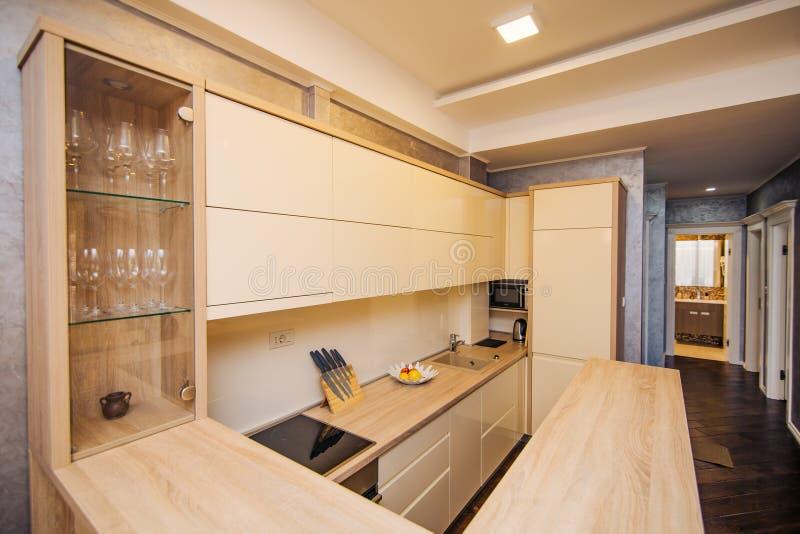 Kuchnia w mieszkaniu Projekt kuchenny pokój wo fotografia stock