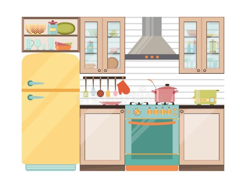 kuchnia wewnętrzna Kuchenni urządzenia i naczynia ilustracja wektor