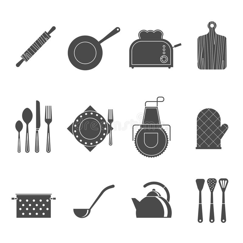 Kuchnia wytłacza wzory akcesoria czarne ikony ustawiać ilustracja wektor