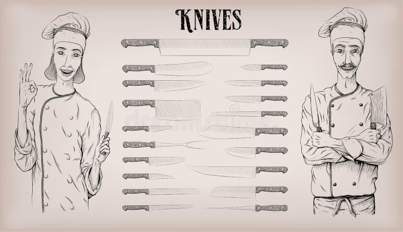 Kuchnia wytłacza wzory nożowych noży naczynia ustawiających: szefa kuchni ` s, struga; kobieta royalty ilustracja