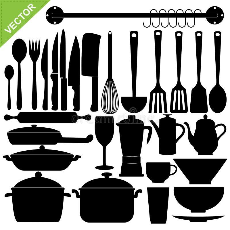 Kuchnia wytłacza wzory sylwetki wektorowe ilustracja wektor