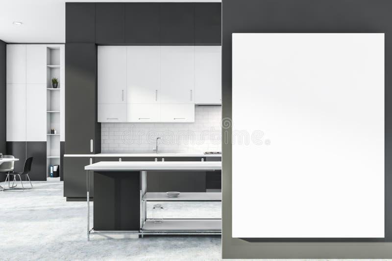 Kuchnia z cegły szarej i białej z plakatem ilustracji