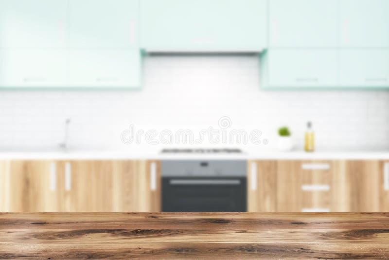 Kuchnia z cegieł białych z drewnianymi pustkami ilustracji