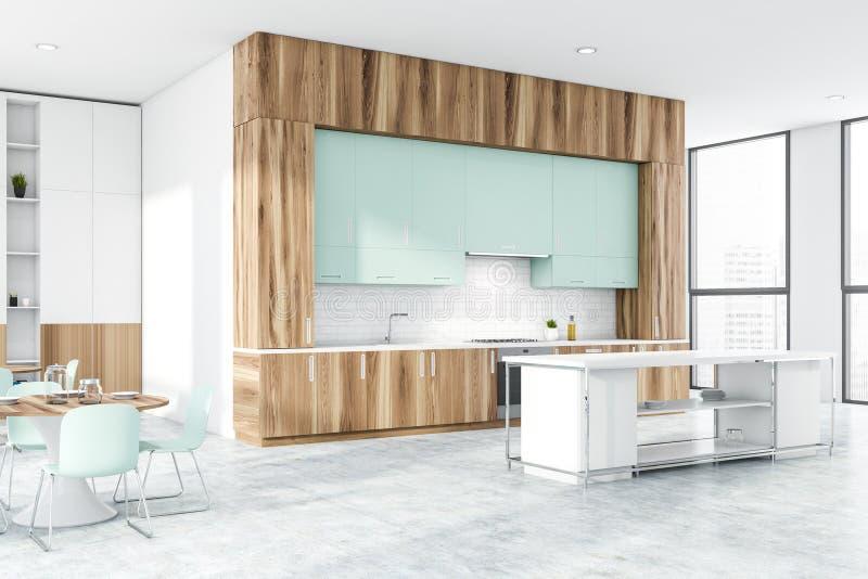 Kuchnia z drewna i cegły z stołem i prętem ilustracja wektor