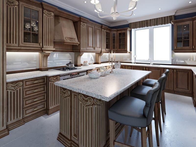 Kuchnia z granitowym wyspy i wiśni drewna cabinetry ilustracja wektor