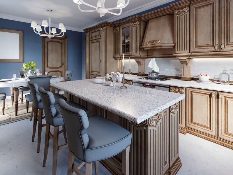 Kuchnia z granitowym wyspy i wiśni drewna cabinetry royalty ilustracja