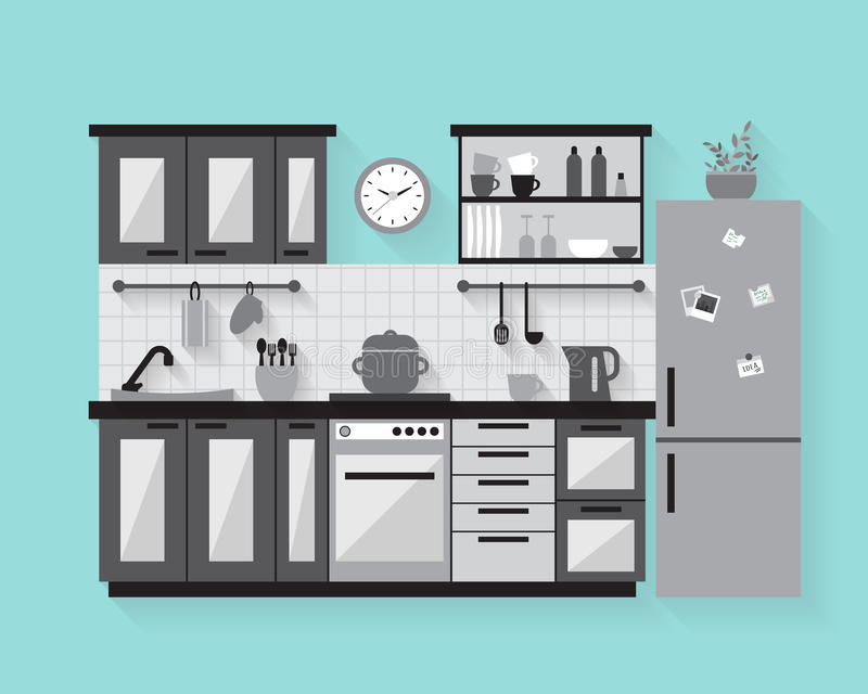 Kuchnia z meble ilustracji
