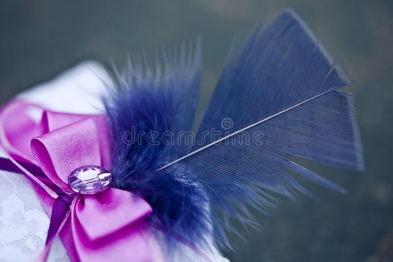 Kudde för vigselringar, med en blå fjäder royaltyfri fotografi