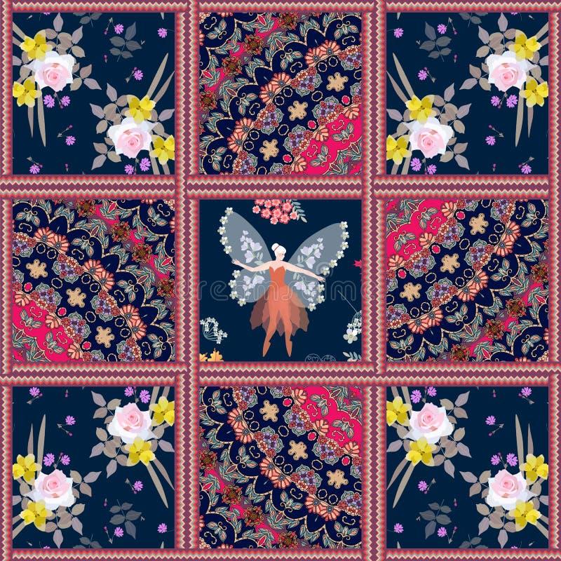 Kudde i patchworkstil med den bevingade fen, indiska dekorativa modeller och blommor vektor illustrationer
