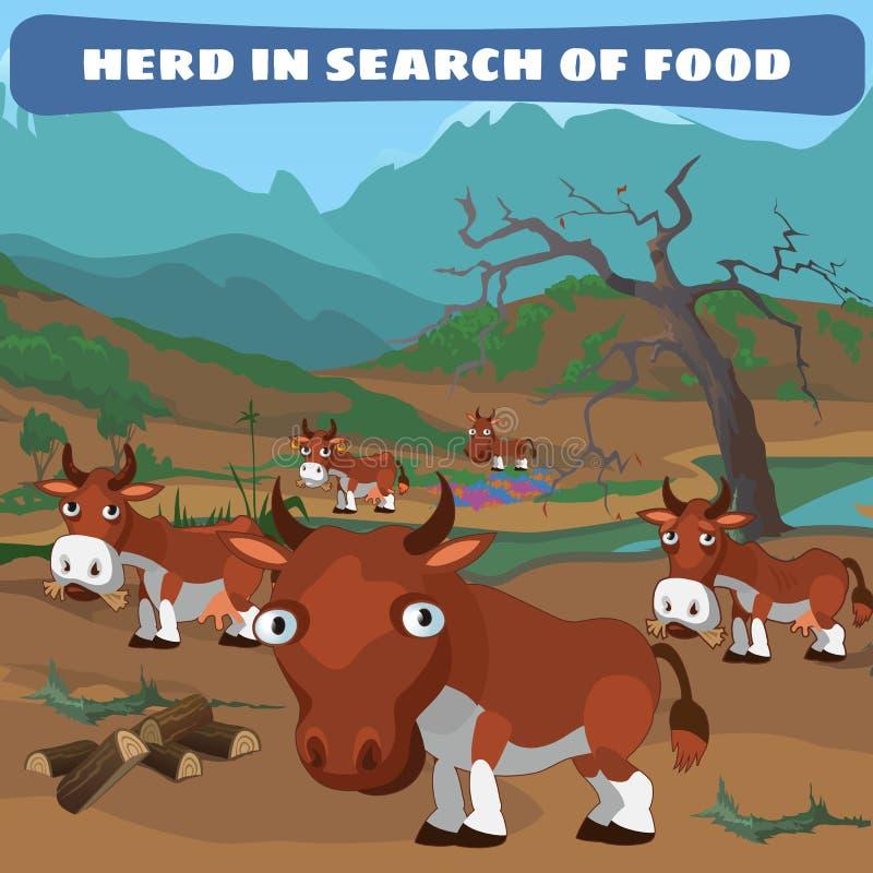 Kudde van koeien op zoek naar voedsel, natuurlijk landschap vector illustratie