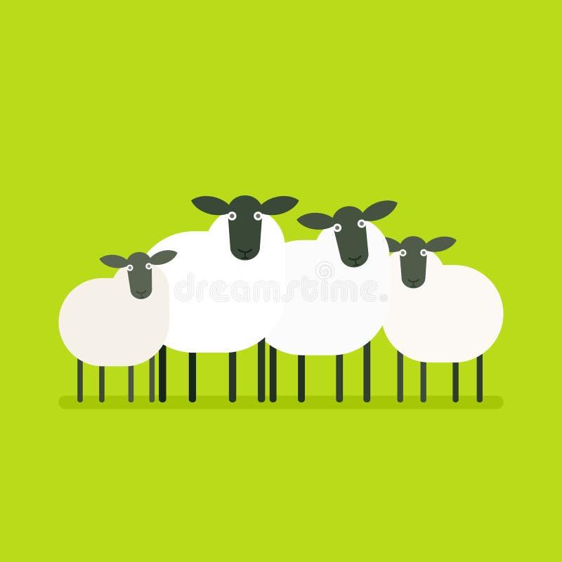 Kudde van schapen vector illustratie