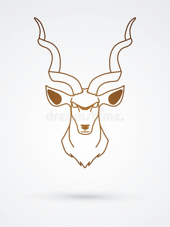 Kudu head front view. Graphic vector stock illustration