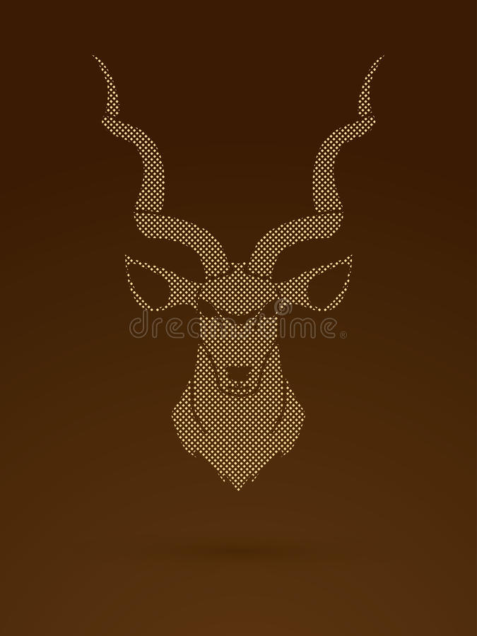 Kudu head front view. Graphic vector royalty free illustration