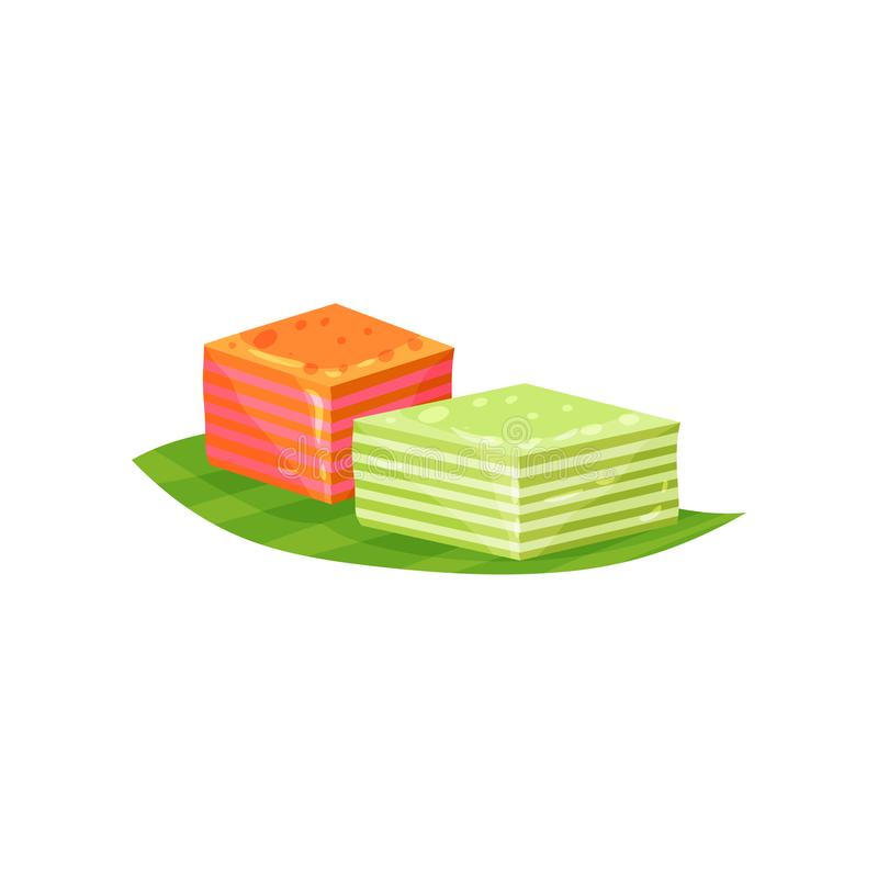 Kue Lapis or small layered cakes on green leaf. Sweet food. Traditional Indonesian snack. Flat vector design for flyer. Kue lapis or small layered cakes on green vector illustration