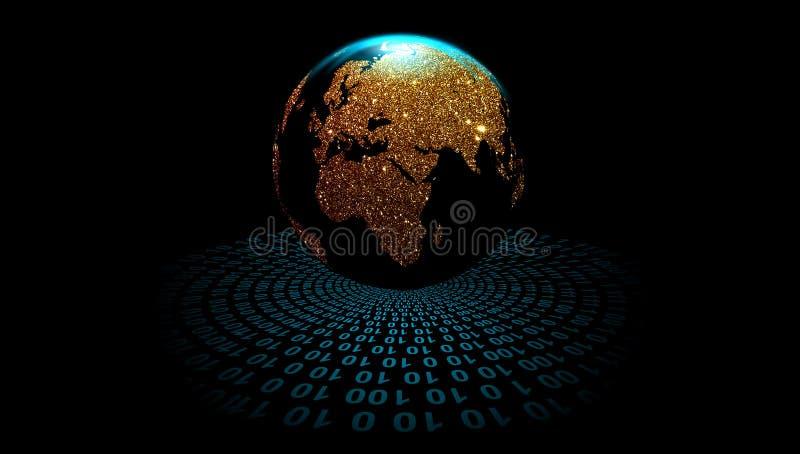 Kugel auf dem Digitaltechnikhintergrund, Vektor Bahnen der digitalen Daten Weltnetztechnik Technologiekommunikation vektor abbildung