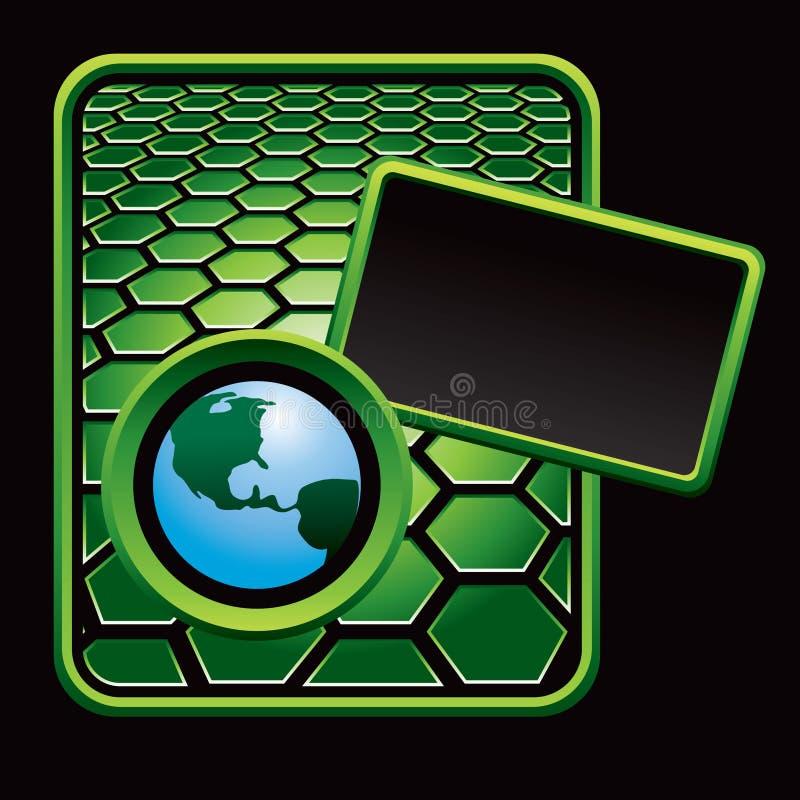 Kugel auf grüner Hexagonreklameanzeige stock abbildung